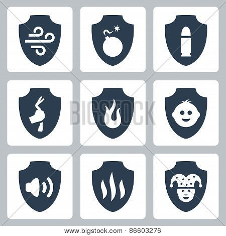 Protection And Resistance Related Vector Icon Set