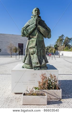 Sanctuary of Fatima, Portugal, March 07, 2015 - Statue of Pope Paul VI by sculptor Joaquim Correia. Fatima is one of the most important pilgrimage locations for Catholics in the world