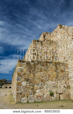 Mexico Oaxaca Monte Alban Pyramide Wall And Sky