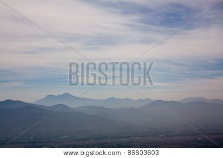 Mexico Oaxaca Monte Alban Valley View With Clouds