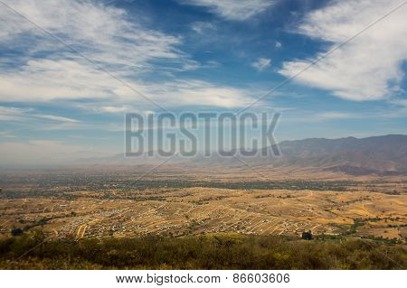 Mexico Oaxaca Monte Alban Valley View With Cloudy Skies