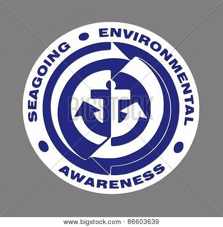 Blue Seagoing Environmental Awareness sign over grey