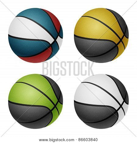 Combinated color basketballs. Isolated on white.