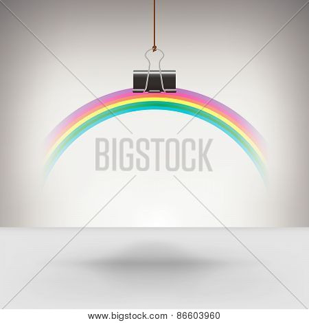 Rainbow Hung by a Binder Clip
