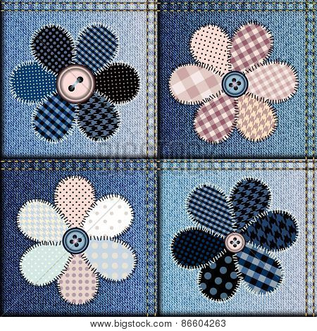 Jeans patchwork with applique of flowers
