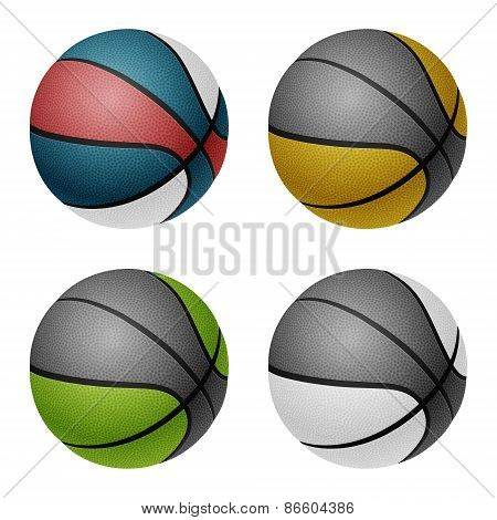 Combinated color basketballs. Isolated on white background