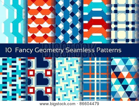 Geometric Seamless Pattern Background. Set Of 10 Abstact Motifs. Colorful Shapes Composition