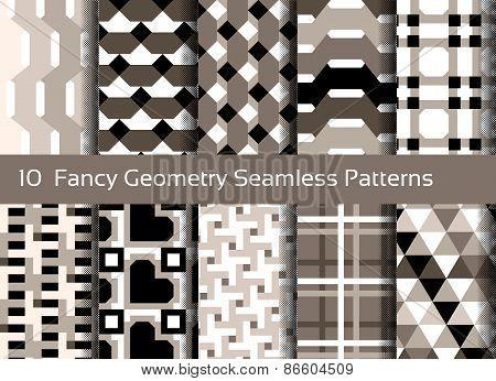 Geometric Seamless Pattern Background. Set Of 10 Abstact Motifs. Monochrome Sepia Colors