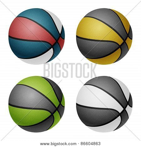 Vector combinated color basketballs.