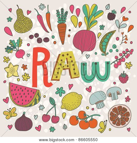 Lovely raw concept card in vector. Tasty pear, cherry, pomegranate, orange, mango, watermelon, lemon, apple, red currant, raspberry, fig, blueberry and carambola  in funny cartoon style