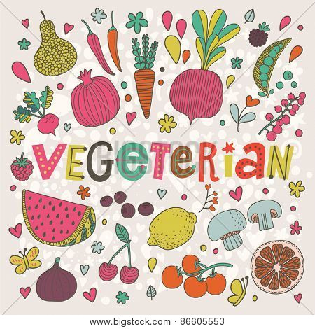 Lovely vegeterian concept card in vector. Tasty pear, cherry, pomegranate, orange, mango, watermelon, lemon, apple, red currant, raspberry, fig, blueberry and carambola  in funny cartoon style