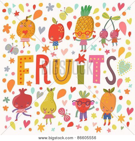 Stunning fruit concept card with sweet fruits and berries in vector. Tasty orange, apple, pineapple, berry, pomegranate, pear, strawberry and apricot in funny cartoon style