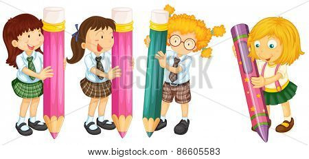 Many students with giant pencils