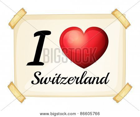 Poster I love Switzerland on the wall