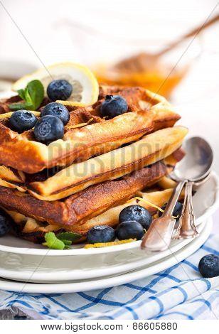 Lemon Blueberry Waffles With Honey