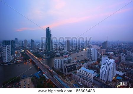 Top View From Bangkok Sky Scrapper Looking To The West See Taksin Bridge Crossing Chaopraya River An