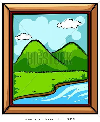 Picture frame with view of river and mountains
