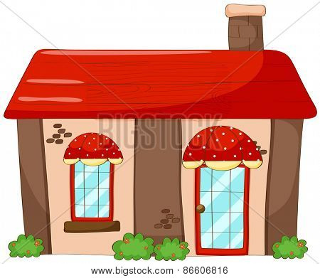 Single house with red roof and chimney