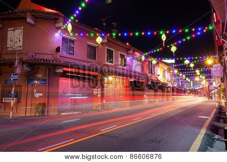 Holiday illumination on the street of Malacca