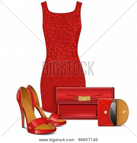 Vector Red Female Clothes