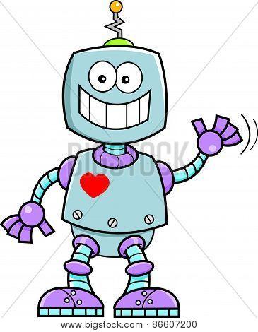 Cartoon smiling robot.