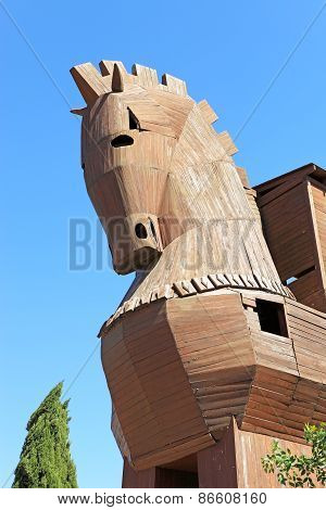Trojan Horse In Troy, Turkey With Clear Blue Skies