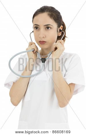 Woman Doctor Listening With Stethoscope