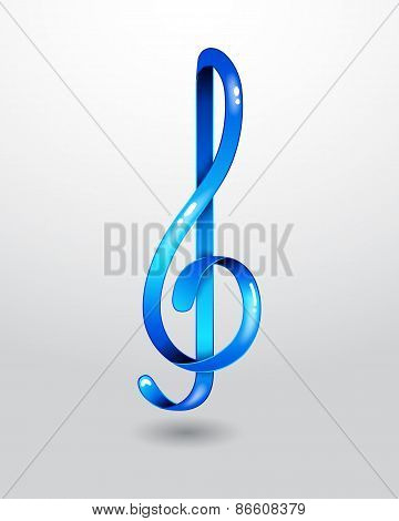 Glass blue treble clef