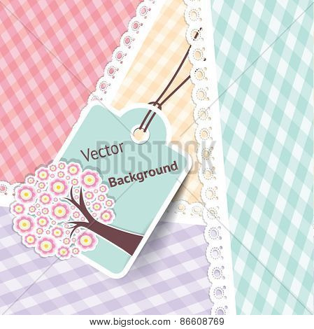 Greeting Card with art tree with spring flowers. Vector Background Illustration.