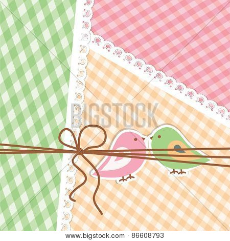 Pink and green birdies are represented on the striped background. Flat image of vector