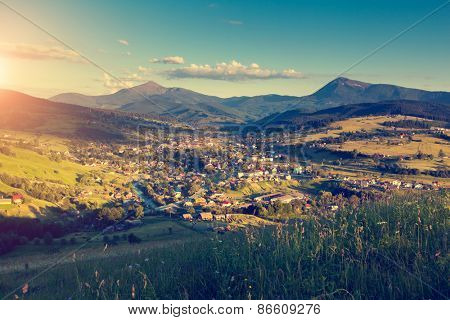 Fantastic day and bright hills by sunlight. Dramatic morning scenery. Carpathian, Ukraine, Europe. Beauty world. Retro and vintage toning effect.