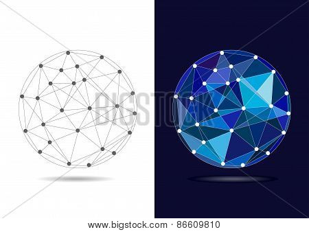 Abstract Connected Blue Globe - Vector Illustration