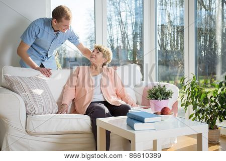 Male Nurse Caring About Patient