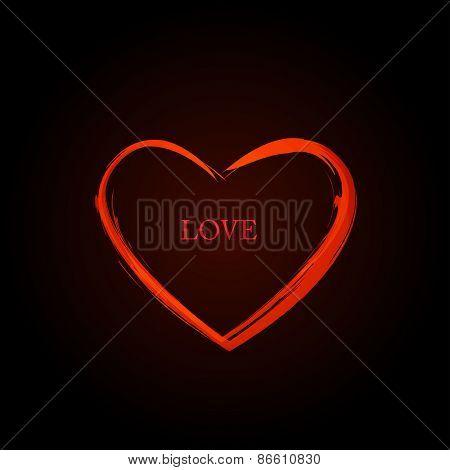 Red Vector Love Heart, easy editable