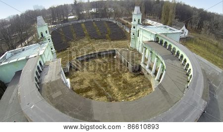 Aerial view of the old amphitheater at park in spring.
