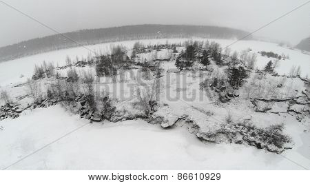 Landscape of the winter bald trees in countryside.