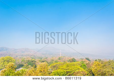 Big Mountain (doi Suthep) In The Pollution Fog, Chiang Mai Thailand.