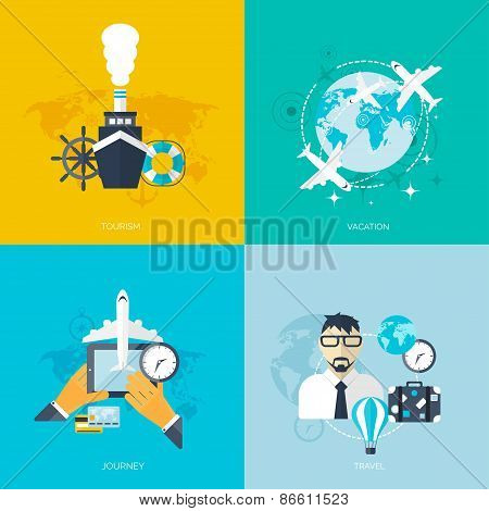 World travel concept backgrounds set.  Flat icons. Tourism concept image.Holidays and vacation.Sea,