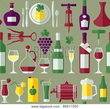 Seamless wine pattern