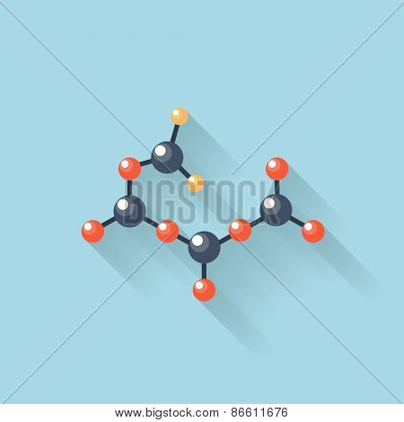 Flat web internet icon. Molecule, chemical atomic model.