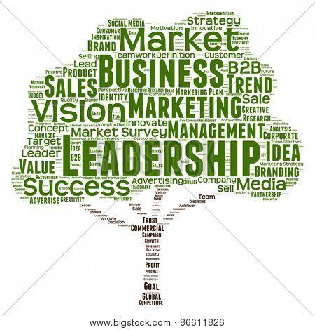 Vector concept or conceptual green tree leadership marketing or