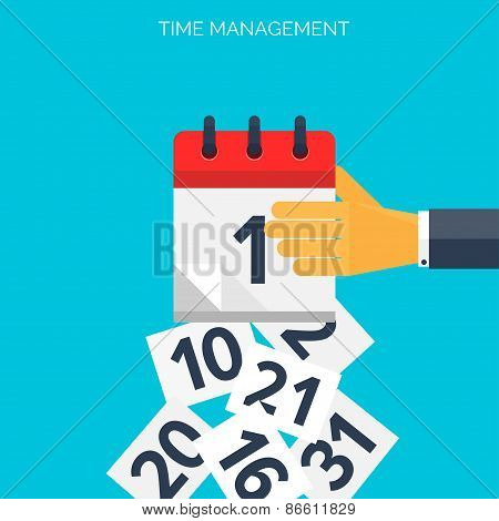 Flat calendar icon. Date and time background. Time management concept.