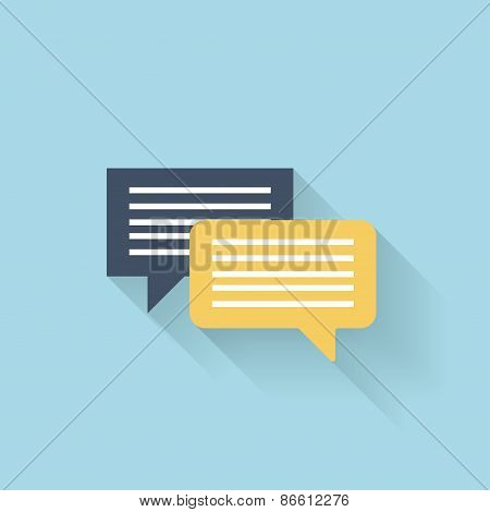 Flat talking icon for web. Speech bubbles