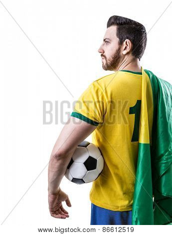 Brazilian soccer player holding the flag of Brazil and a ball on white background