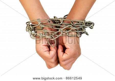Hands in chain on white back ground