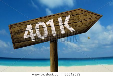 401k sign on the beach