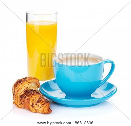 Cup of coffee, orange juice and fresh croissant. Isolated on white background