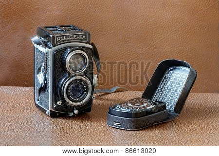 Retro Camera Rollieflex And Light Meter