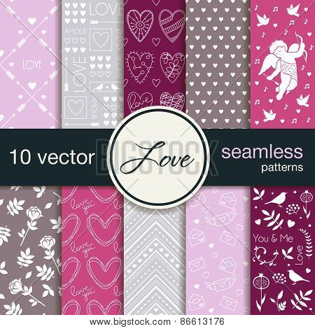 10 seamless vector patterns. The theme of romance. Patterns for Valentine's Day. Wedding patterns.
