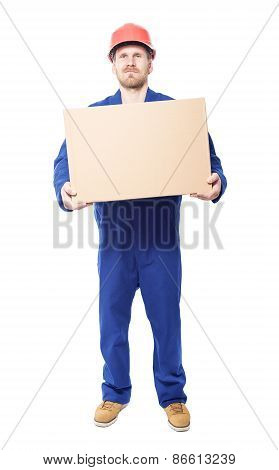 Construction Worker Holds Carton Box. Isolated On White.